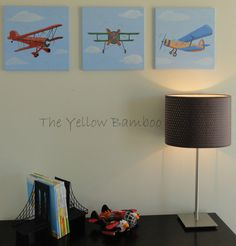 Red Vintage Airplane Original Acrylic on canvas by theyellowbamboo, $40.00