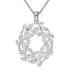 Chic Lotus Silver Plated hollow Necklace With Leaf Garland Pendant >>> More info could be found at the image url. Note:It is Affiliate Link to Amazon.