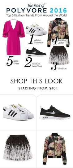 """""""Check out the Top Fashion Trends of 2016 in The Best of Polyvore Report"""" by polyvore ❤ liked on Polyvore featuring adidas Originals, NIKE, Alice + Olivia, Miss Selfridge and Exclusive for Intermix"""