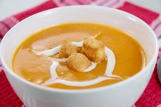 SQUASH SOUP WITH PEARS, MAPLE SYRUP AND BLUE CHEESE CROUTONS   Ingredients – Soup: 3 lbs. butternut squash 2 tbsp. extra virgin olive oil ½ cup onion, finely sliced One pear, cored, peeled and diced ½ cup Gewürztraminer 5 cups chicken stock (or vegetable stock) 2 tbsp. maple syrup ½ cup whipping cream  …