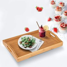 Serving TrayWood Serving Tray with Handles Boobam Serving Tray Set for FoodBreakfastDinnerOttoman Coffee Table PartiesRestaurants Food Serving Trays, Serving Trays With Handles, Serving Tray Wood, Food Trays, Breakfast For Dinner, Breakfast Recipes, Cheese Platter Board, Personalized Cheese Board