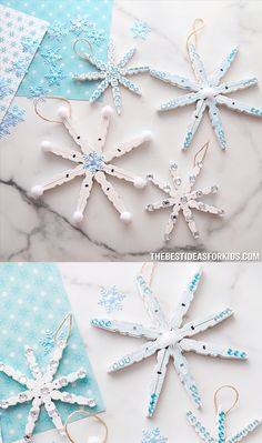 Christmas Crafts snowflakes CLOTHESPIN SNOWFLAKE CRAFT - this easy Christmas ornament craft is just made with clothespins! Glue them together to make beautiful snowflakes to hang on your Christmas tree. Diy Christmas Snowflakes, Snowflake Craft, Christmas Ornament Crafts, Noel Christmas, Christmas Crafts For Kids, Simple Christmas, Handmade Christmas, Christmas Tree Decorations, Holiday Crafts