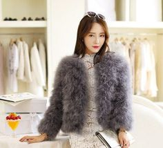 Hot Sale New 2016 Women Winter Short Slim Thick O-Neck Full Sleeve Single Breasted Solid Ostrich Feather Faux Fur Coat LJ464