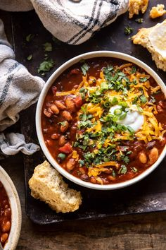 Healthy Slow Cooker Chipotle Bean Chili | halfbakedharvest.com Healthy Slow Cooker, Slow Cooker Recipes, Crockpot Recipes, Soup Recipes, Cooking Recipes, Fall Recipes, Slow Cooking, Ww Recipes, Healthy Cooking