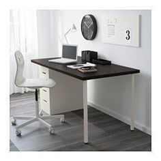 """IKEA - LINNMON / ALEX, Table, gray/white, 59x29 1/2 """", , Pre-drilled leg holes for easy assembly.Drawer stops prevent the drawers from being pulled out too far.Can be placed anywhere in the room because the back is finished.Adjustable feet allow you to level the table on uneven floors."""