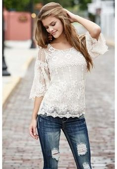 Crochet and lace bell sleeve top--This would be such a cute teacher shirt! With some slacks. Cute, cute cute cuuuuuuuute
