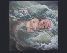 Dolphin and Baby Mermaid in a Wave . . .by Vanda by ArtistVanda, $34.50