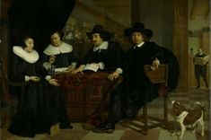 Two Regents and Two Regentesses of the Spinhouse of Amsterdam by Dutch Painter Bartholomeus van der Helst