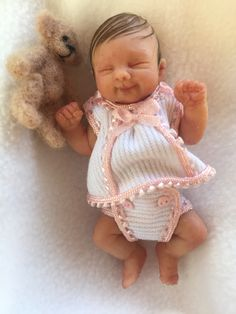 Clay Baby, Tiny Dolls, Miniature Dolls, Vintage Dolls, Polymer Clay, Kids, House, Stitching, Toys