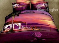 New Arrival Romantic Rose and Beach Huts Print 4 Piece Bedding Sets  @bedding inn