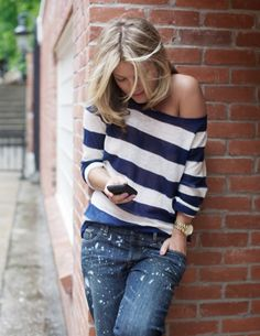 Stripes and distressed boyfriend jeans