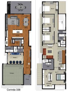 Narrow House Plans, Two Story House Plans, Two Story Homes, Dream House Plans, My Home Design, House Design, Plans Architecture, Japanese Interior Design, Lucerne