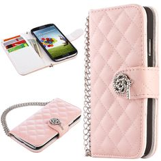 ULAK Luxury PU Leather Flip Wallet Case Cover for Samsung Galaxy S4 IV i9500 i9505 with Steel Wristlet