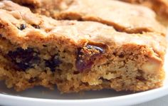 Gordon Ramsey blondies with white chocolate and dried cranberries