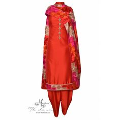 Traditional red salwar kameez featuring in phulkari-Mohan's the chic window