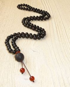 Black necklace , Long necklace - amber, lava and wood, male necklace, a gift for a real man, black stones, , tribal necklace, boho