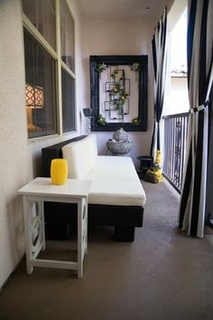 Add curtains to small balcony to create a high-end feel. | For the ...