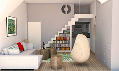 Studio apartment Loft bed 3D visuals: SketchUp + SU Podium