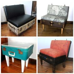 repurposed junk furniture   fell in love with these repurposed suitcase furnitures the minute i ...