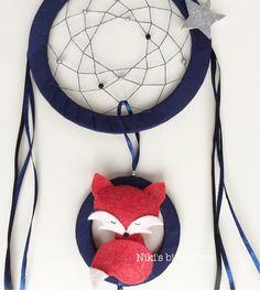 Midnight fox dreamcatcher for kids dark blue by NikisBirdhouse