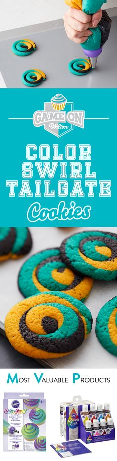 Color Swirl Tailgate Cookies - Show your spirit using all your favorite team colors and the Wilton Color Swirl 3-Color Coupler! It's the perfect triple threat of fun! This easy to make cookie dough recipe is also easy to color so you can show off your spirit at any football game, tailgate, cookout, youth sports event or just any time you feel like a treat!