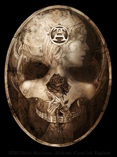 "Dark Narcissus. Alchemy Gothic artwork Alabaster flesh becomes bleached bone in a haunting baroque memento mori,  bearing the inscription ""omnes una manet nox"" - one night awaits us all"