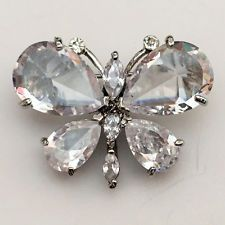 Silver tone pin brooch in shape of BUTTERFLY with white CZs Lot 94