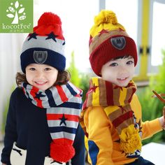 27652e2bde2 Kocotree 1 to 4 Years Old Children Two Pieces Of Winter Hat And Scarf 4  Colors Available Boys And Girls Winter Warm Cap.