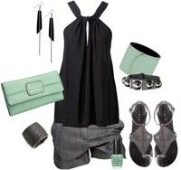 Classy Outfit with Shorts, Silk Halter Top, Bag/ Clutch/ Purse, Sandals, Earrings, Bracelet