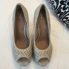 Apt. 9 nude/tan peep toe cut out heels Only worn a handful of times. Really cute and comfortable. Apt. 9 Shoes Heels