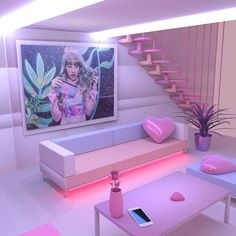 We rounded up some of our favorite interior design ideas along with handy décor tips. Neon Bedroom, Girls Bedroom, Bedroom Decor, Cozy Bedroom, Awesome Bedrooms, Cool Rooms, Futuristic Bedroom, Wc Decoration, Decorations