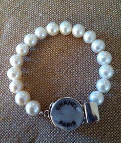 Vintage Chanel Button Pearl Necklace   Vintage Chanel Button & Freshwater Pearl Bracelet
