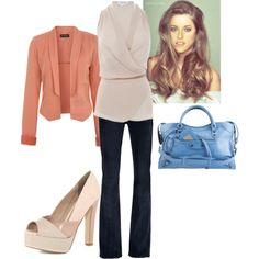 { Teacher Style } Boot cut dark wash jeans, ivory sleeveless tunic blouse, pale peach long sleeve blazer, ivory wedges.