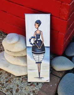 Un tableau du bord de mer représentant une petite baigneuse réalisée à la peinture acrylique et verni sur une toile coton de dimensions: 10 cm x30 cm Modèle unique e - 18853192