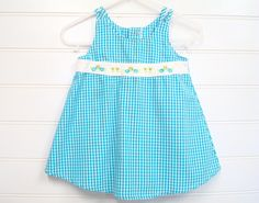 Vintage Baby clothes, Baby Girl Clothes, Baby Girl Summer Dress in Blue Gingham, A Line Baby Dress. # on Etsy, $14.00