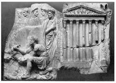 Ara Pietatis - Completed under Claudius. Similar to Ara Pacis but with differences. Foreground figures arranged in a more frontal pose. Relationship between fore and background less successful. Drapery follows the style of earlier monument. Introduction of building in the scene.