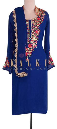 Buy Online from the link below. We ship worldwide (Free Shipping over US$100). Product SKU - 302038. Product Link - http://www.kalkifashion.com/royal-blue-semi-stitched-suit-adorn-in-resham-and-zari-embroidery-only-on-kalki.html