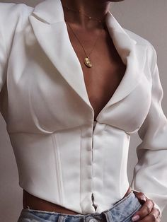 #SumAllChic #chicoftheday, Sum All Chic, Shop White Single Breasted Deep V-neck Long Sleeve Fashion Ladies Suit online.