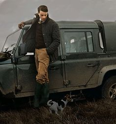 English Country with 110 Land Rover Defender & Jack Russell Terrier.  Dream....