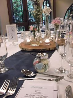 #wedding #bride #groom #reception #weddingreception #loveit #chateauwyuna #burgundyroom #navy #satin #naturalcentrepiece #woodenboard #flowers Bride Groom, Wedding Bride, Burgundy Room, Reception Rooms, Ranges, Table Settings, Satin, Navy, Flowers