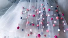 Tulle skirt accesorized with pompoms Elsa, December, Tulle, Skirt, Tutu, Rock, Skirts, Jelsa, Mesh