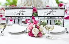 Fancy bride and groom chair sashes