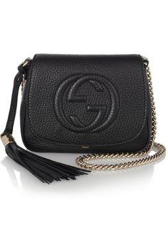 Guccitextured leather shoulder bag