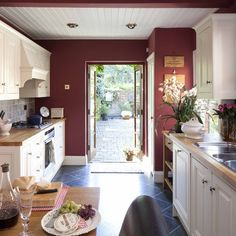 #Marsala accent wall in the #kitchen