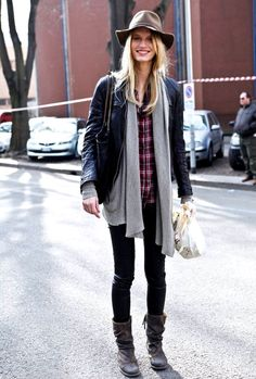 Love the layered look of a plaid shirt, a slouchy sweater and a fitted leather jacket paired with a hat and warm boots.