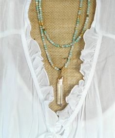 Agate gemstone necklace in shades of mint green, cream and gold, vermeil gold nuggets, gold plated quartz pendant