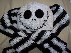 Jack Skellington Hat & Scarf set   I want to make this.