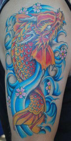 koi dragon tattoo | Dragon koi