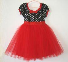 TUTU DRESS black white polka dot red skirt baby girls Valentines Day holiday birthday party dress portrait flower girl special occasion. $44.00, via Etsy.