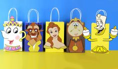 Beauty and the Beast Favor Bag - Disney - Die Schöne und das Biest / Beauty and the Beast - Diy Beauty And The Beast Party, Beauty And Beast Birthday, 6th Birthday Parties, 2nd Birthday, Birthday Ideas, Princesse Party, Disney Princess Party, Princess Birthday, Party Favor Bags